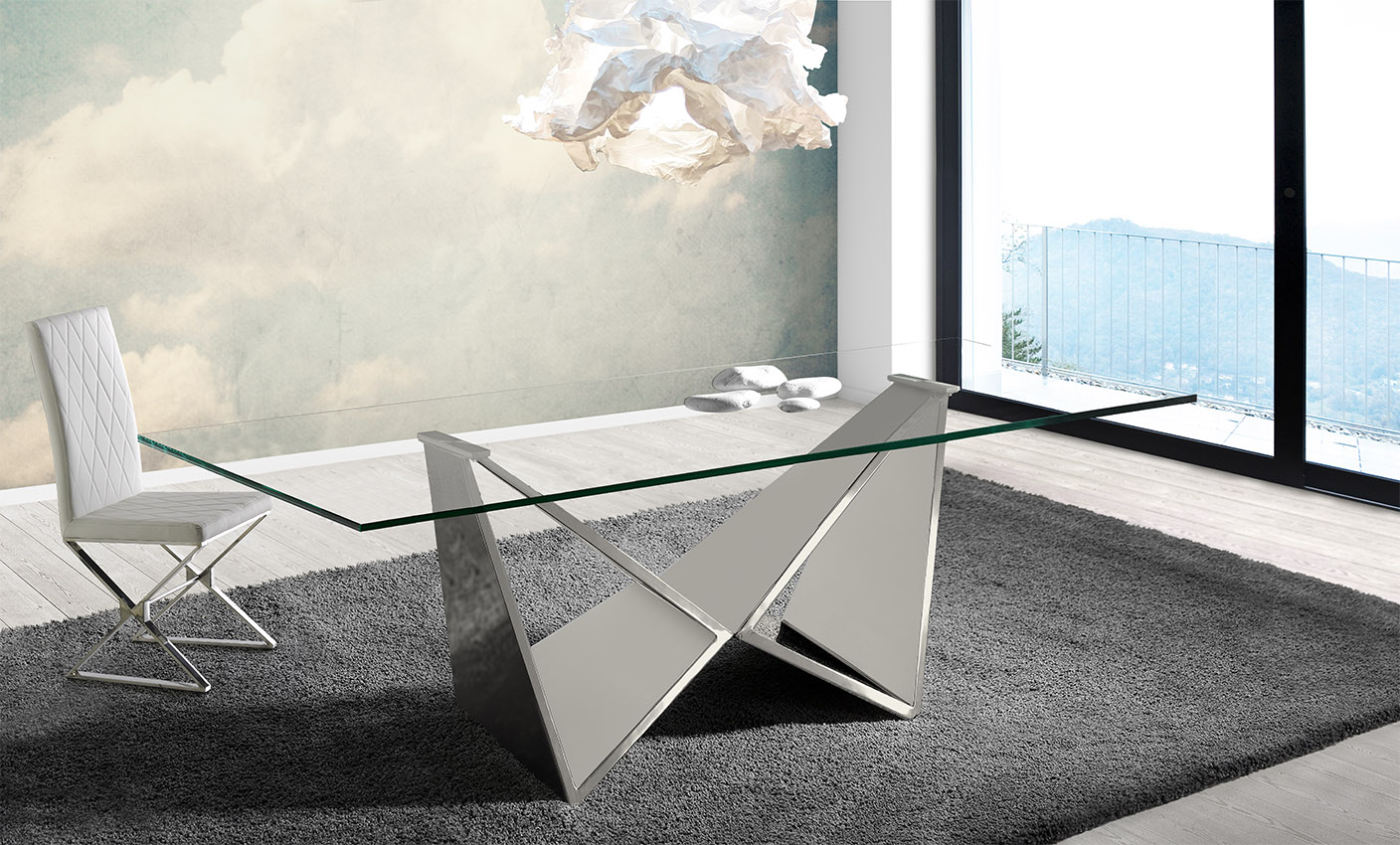 glass and chrome dining table 436