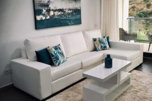 White Faux leather Right had chaise
